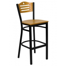 BTOD Slat Back Breakroom Stool - Natural Wood Seat and Back