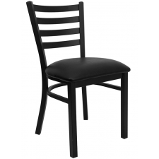 BTOD Ladder Back Breakroom Chair Dining Height - Black or Burgundy Vinyl Seat