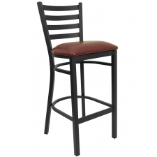 *New* BTOD Ladder Back Breakroom Stool - Black or Burgundy Vinyl Seat