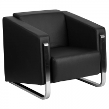 Black leather Lounge Chair Steel Frame