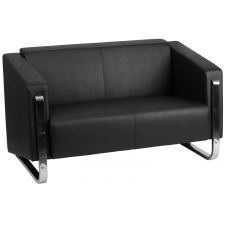Black Leather Modern Loveseat Stainless