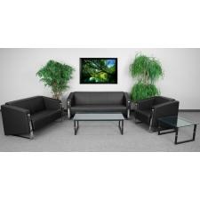 *New* BTOD Gallant Contemporary Black Leather Reception Set