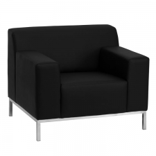 BTOD Definity Series Black Leather Lounge Chair Steel Base