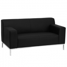 BTOD Definity Series Black Leather Love Seat Steel Feet