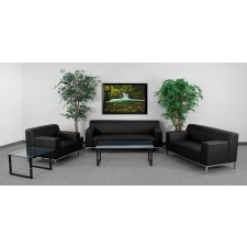 Black Leather Reception Area Set
