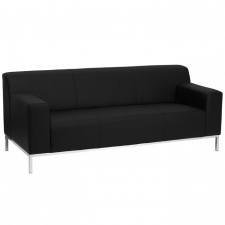 BTOD Definity Series Black Leather Sofa Steel Feet