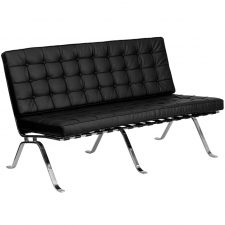 Modern Tufted Black Leather Love Seat