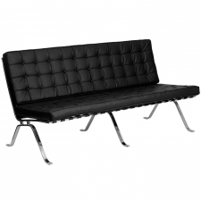 Tufted Leather Sofa Modern Chrome Base