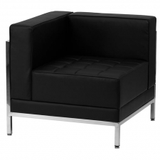 Black Leather Corner Chair For Lobby