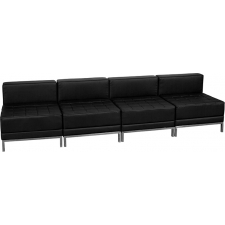 4 Seat Leather Bench Modern Base