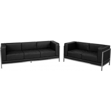 Modern Black Leather Reception Set