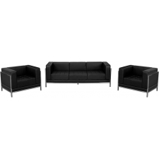 Modern Black Leather Waiting Room Set