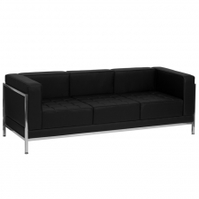 Modern Chrome Base Black Leather Sofa