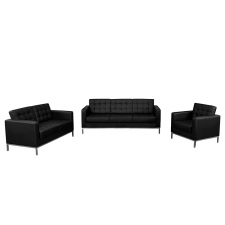 Modern Leather Lobby Area Set Black