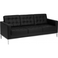 *New* BTOD Lacey Series Black Tufted Leather Sofa Steel Feet