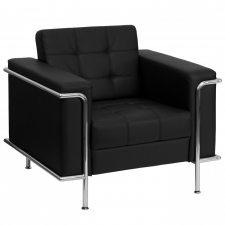 Black Leather Lobby Chair Modern Chrome