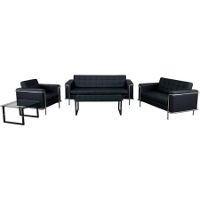 *New* BTOD Lesley Series Contemporary Leather Reception Set Black or White