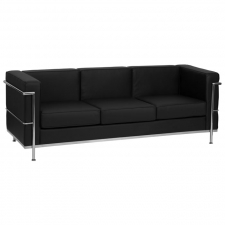 Modern Lobby Area Black Leather Sofa