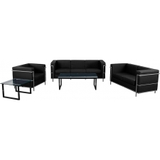 Black Leather Waiting Room Set