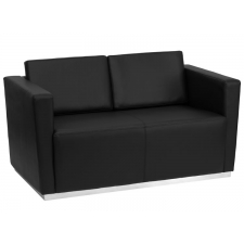 BTOD Trinity Series Black Leather Reception Love Seat