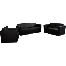 Black Leather Waiting Room Furniture