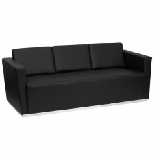 Black Leather 3 Seat Sofa Lobby