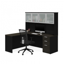 Bestar Pro Concept Plus Deep Grey & Black Melamine Finish L-Shaped Desk