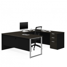 Bestar Pro Concept Plus White & Deep Grey Melamine Finish U-Shaped Desk