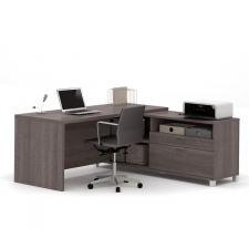 Bestar Pro Linea Bark Grey Melamine Finish L-Shaped Desk