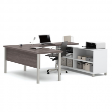Bestar Pro Linea Oak Barrel Melamine Finish U-Shaped Desk
