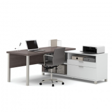 Bestar Pro LineaBark Grey and White Melamine Finish L-Shaped Desk