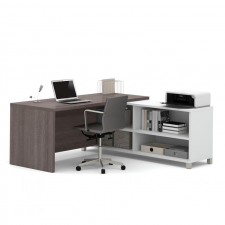 Bestar Pro Linea Oak Barrel and White Melamine  Finish L-Shaped Desk