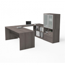 Bestar I3 Plus Bark Grey Melamine Finish U-Shaped Desk