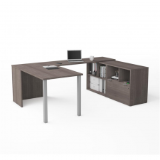 Bestar I3 Plus Bark Grey & White Melamine Finish U-Shaped Desk