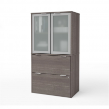 Bestar I3 Plus Bark Grey Melamine Finish Lateral File Cabinet