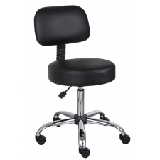 Boss Doctor's Stool with Backrest and Pneumatic Height Adjustment From 21-27""