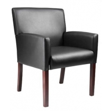 Boss Upholstered Mid-Back Arm Chair Mahogany Finish