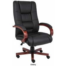 Boss CaressoftPlus High Back Conference Chair Wood Base Accents