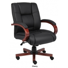 *New* Boss CaressoftPlus Mid Back Conference Chair Wood Base Accents