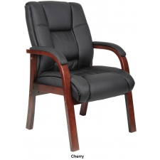 *New* Boss CaressoftPlus Guest Chair w/ Optional Cherry or Mahogany Finish