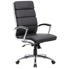 Modern Black Leather Office Chair Chrome