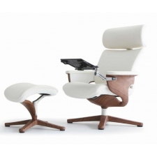 Eurotech Nuvem Leather Lounge Chair - Available in White/Teak Or Black/Chrome