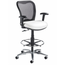 "Black Mesh Drafting Chair Nightingale LXO Mid Back Drafting Seat Adjustment 24-34""H"