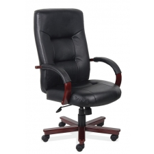 Faux Leather Executive High Back w/ Mahogany Frame