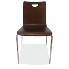 Bleecker Street Café Wood Stack Chair, Hand Hole in Back w/Chrome Base