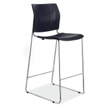 Polyurethane Stool w/Footrest & Chrome Base
