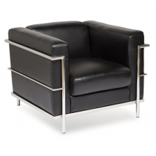 Madison Series Leathertek Vinyl Modern Sofa with Exposed Chrome Frame