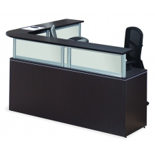 Office Source Borders II Series L-Shape Receptionist Desk 6 Laminate Finish Options