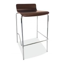 Bleecker Series Café Height Low Back Wood Stool