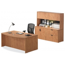 OS Laminate Series Bow Front Executive Desk w/ Credenza and Hutch